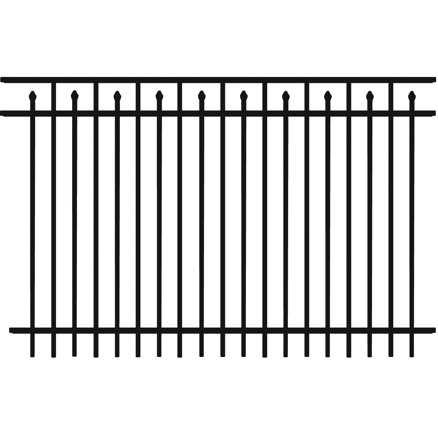 Universal Spear 3-Rail Picket Bottom