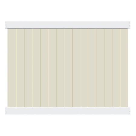 Solid Privacy White Rail Tan Picket